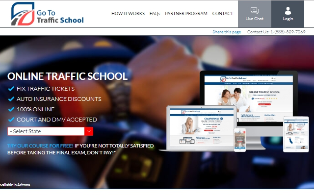GoToTrafficSchool website print screen